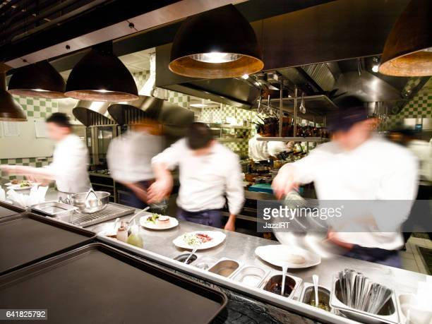 Overly busy restaurant kitchen