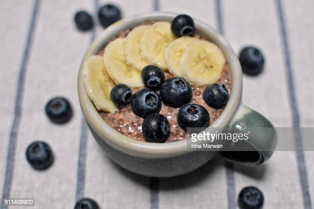 Overnight oats chia pudding with blueberries & banana topping