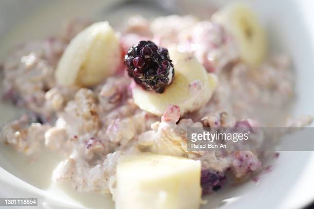 overnight oats dish served in a bowel - rafael ben ari stock pictures, royalty-free photos & images