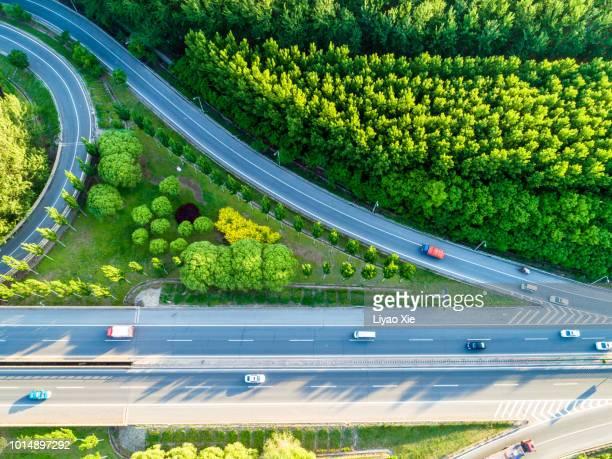 overpass aerial view - liyao xie stockfoto's en -beelden
