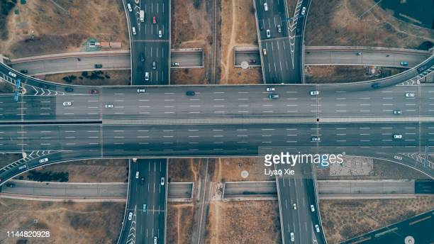overpass aerial view - liyao xie stock pictures, royalty-free photos & images