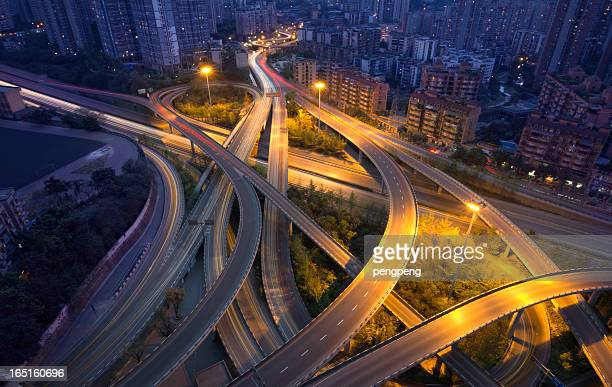 overpass - chongqing stock photos and pictures