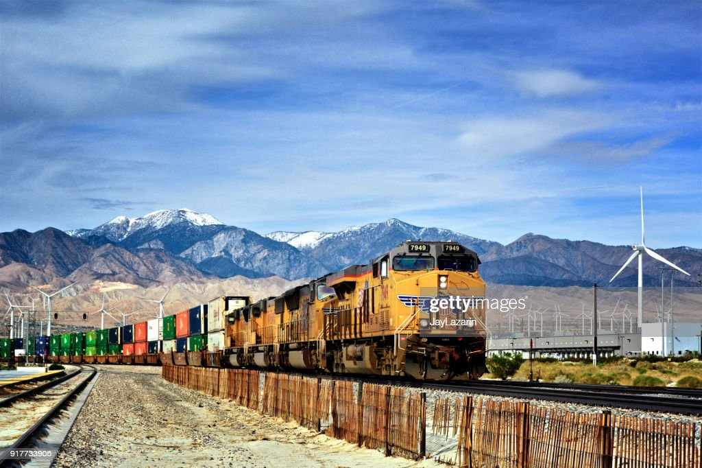 Overseas Cargo Containers on Freight train - Palm Springs, California, USA : Stock Photo