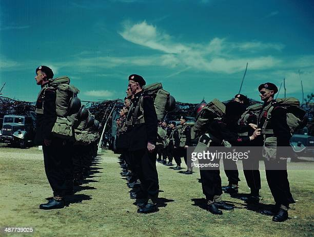 1944 Overseas contingent of the National Fire Service employed during World War Two firemen undergoing training on a route march through the...