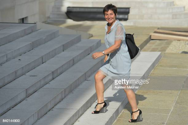 Overseas Minister Annick Girardin arrives at Elysee Palace for a cabinet meeting on August 28 2017 in Paris France
