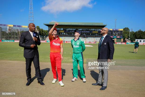 Overseen by Ian Bishop Match Referee Graeme La Brooy Graeme Creemer of Zimbabwe and William Porterfield of Ireland take part in the coin toss before...