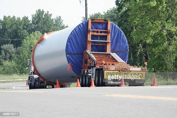 Oversize Load Trailer Truck Parked Along Rural Highway