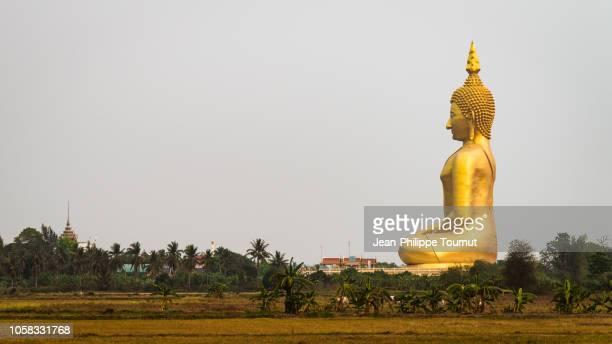 oversized golden buddha statue in wat muang monastery, ang thong province, thailand, southeast asia - buda fotografías e imágenes de stock