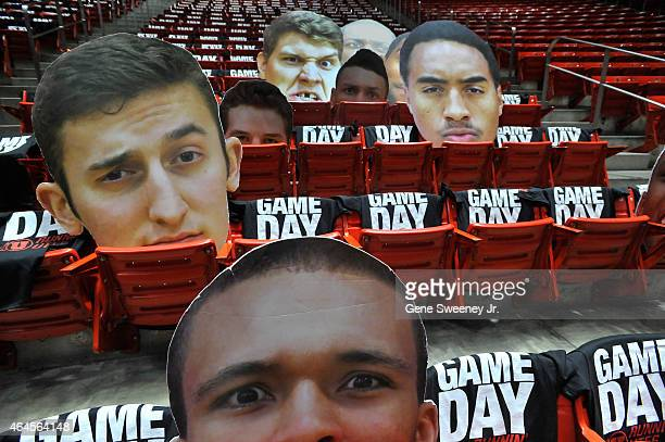 Oversized portraits of the Utah Utes players rest in the student section before their game against the Arizona State Sun Devils at the Jon M Huntsman...