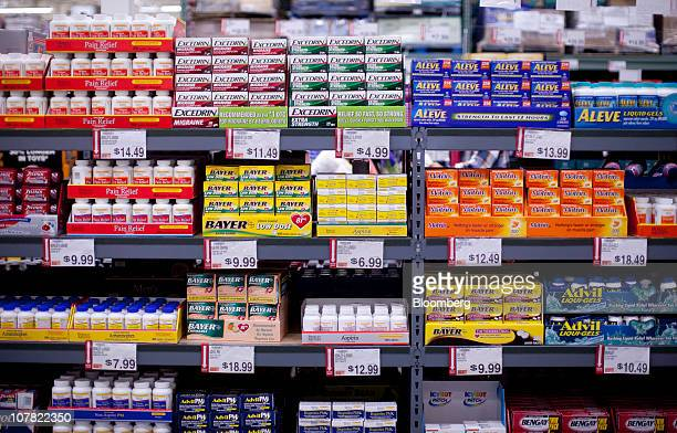 Overthecounter pain reliever medications sit on display inside a BJ's Wholesale Club store in Falls Church Virginia US on Thursday Dec 30 2010 BJ's...