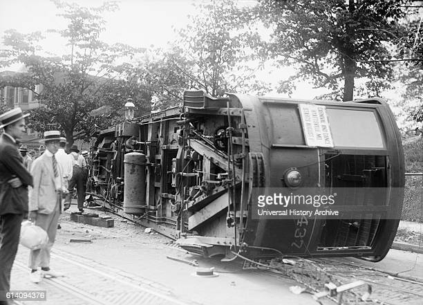 Overturned Streetcar Washington DC USA circa 1919