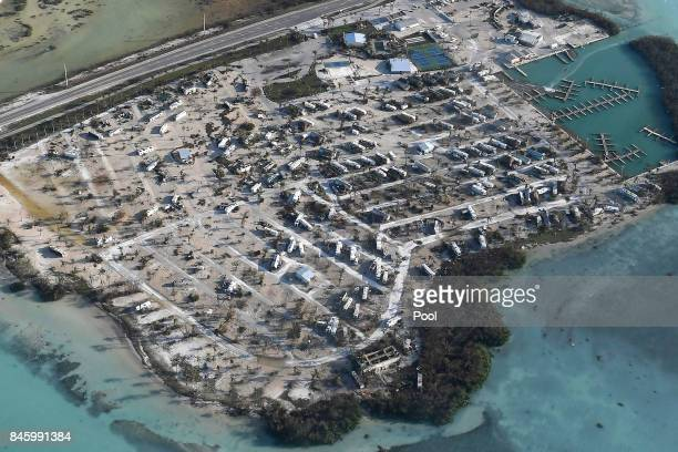 Overturned trailer homes are seen in the aftermath of Hurricane Irma on September 11 2017 over the Florida Keys Florida