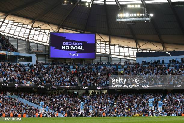 VAR overturns Gabriel Jesus of Manchester City goal to make it 32 during the Premier League match between Manchester City and Tottenham Hotspur at...