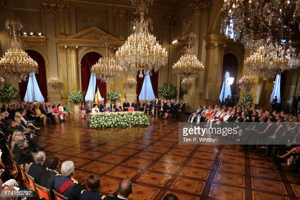 Overview at the Abdication Ceremony Of King Albert II Of Belgium Inauguration Of King Philippe at the Royal Palace on July 21 2013 in Brussels Belgium
