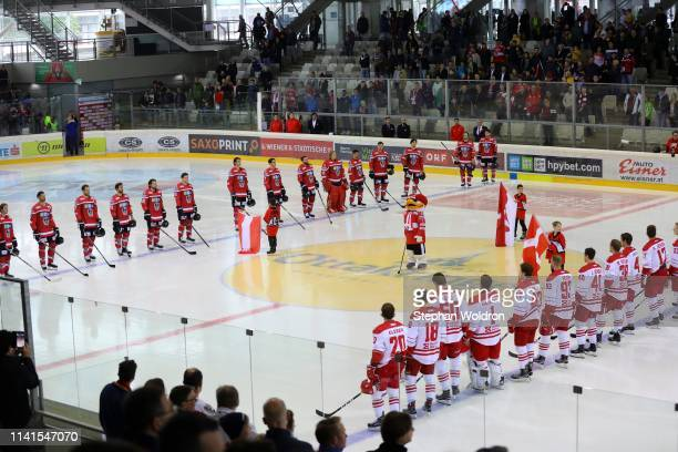 Overview both teams during the Austria v Denmark - Ice Hockey International Friendly at Erste Bank Arena on May 5, 2019 in Vienna, Austria.