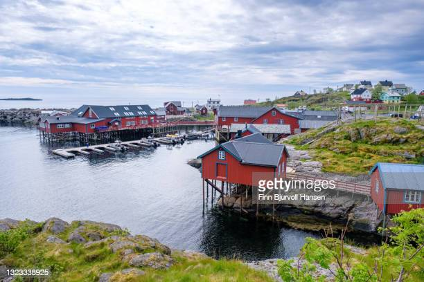 overview fishing village å in lofoten islands norway - finn bjurvoll stock pictures, royalty-free photos & images