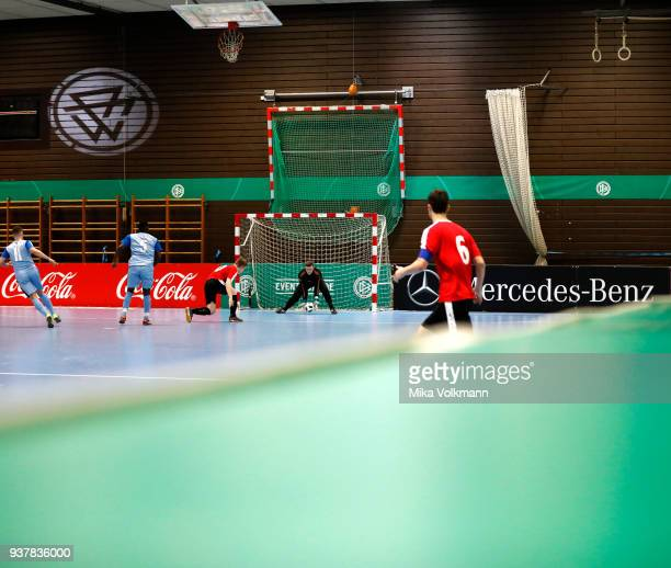 Overview game scene during the DFB Indoor Football half final match between Blumenthaler SV and VFB Eppingen on March 25 2018 in Gevelsberg Germany