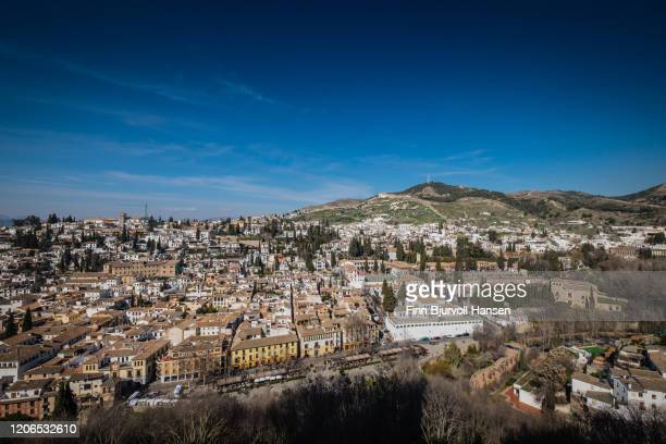 overview granada spain from the alhambra - finn bjurvoll stock pictures, royalty-free photos & images