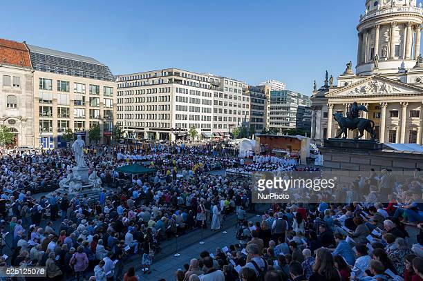 Overview image of the Corpus Christi service on at the Gendarmenmarkt in Berlin Germany The feast of Corpus Christi or Solemnity of the Sacred Body...