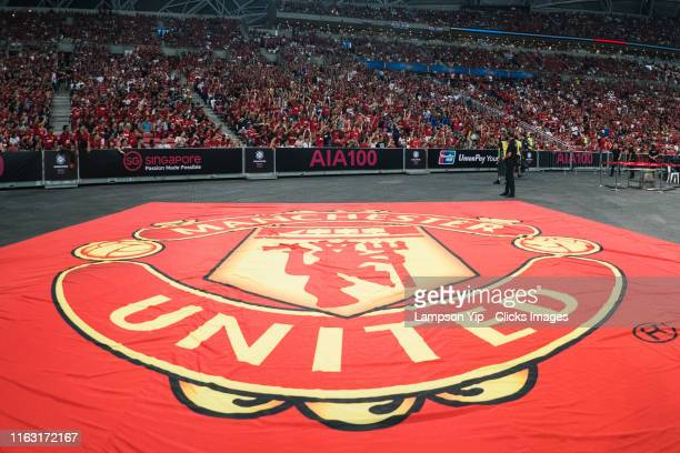 Overview look of the Manchester United logo flag and the crowd during the 2019 International Champions Cup match between Manchester United and FC...