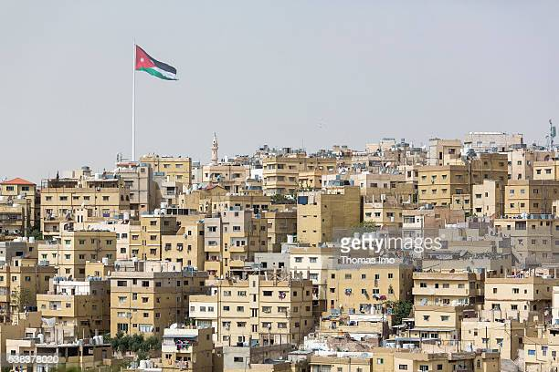 Overview of a district of Amman In the background the famous Raghadan flagstaff on April 08 2016 in Amman Jordan