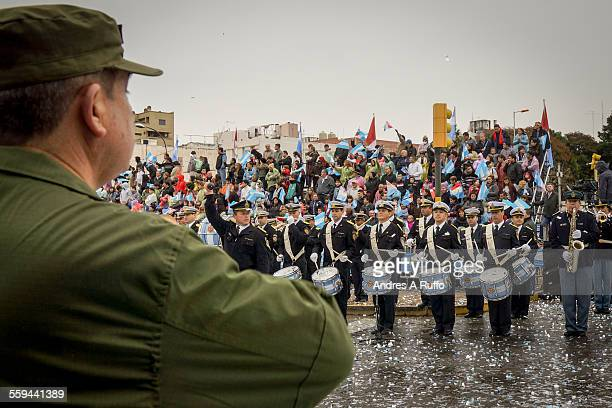 Overview of a group of people belonging to the Police Band Musical Cordoba Street Rosario de Santa Fe the city of Cordoba Argentina on the afternoon...