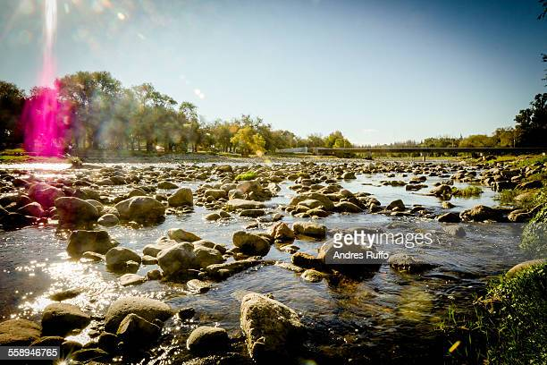overview of a large group of rocks in the river - andres ruffo stock-fotos und bilder