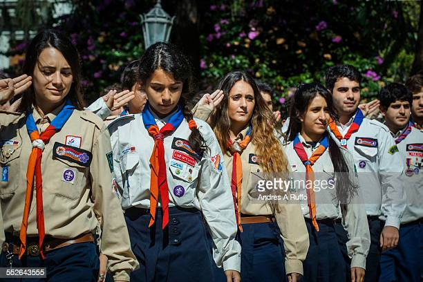Overview of a medium group of people the Armenian community of Córdoba during the ceremony on the occasion of commemorating the 100th anniversary of...