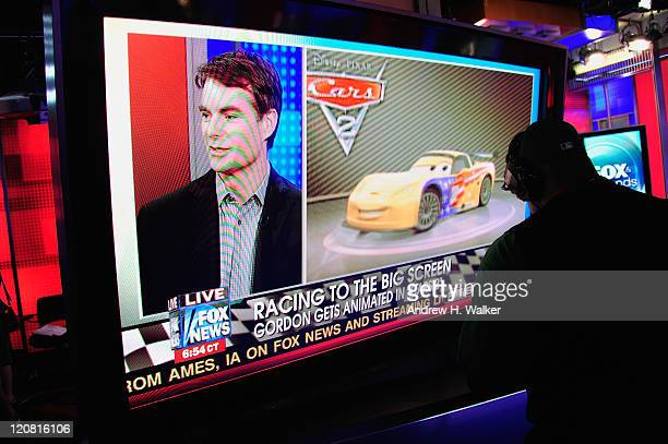 Overview of a monitor showing NASCAR driver Jeff Gordon's visit on 'FOX Friends' at FOX Studios on August 11 2011 in New York City