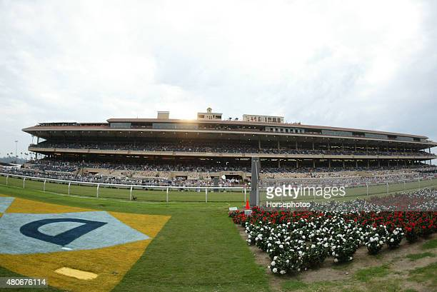 Overview of a packed Del Mar Race Track grandstand July 20 2005