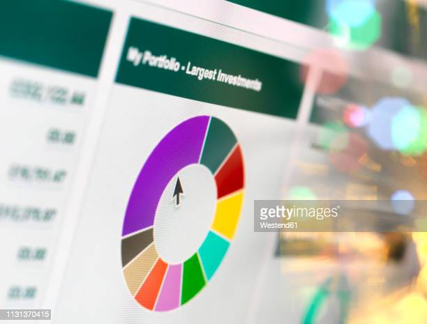 overview of a persons investment and pension portfolio online - stock certificate stock pictures, royalty-free photos & images