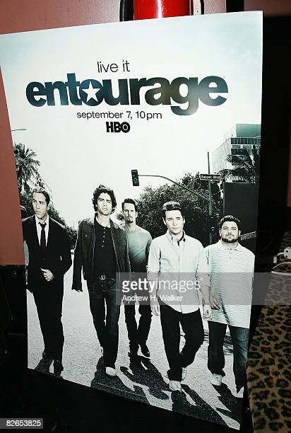 Overview of a poster at the after party for the premiere of the fifth season of 'Entourage' presented by HBO on September 3 2008 in New York City