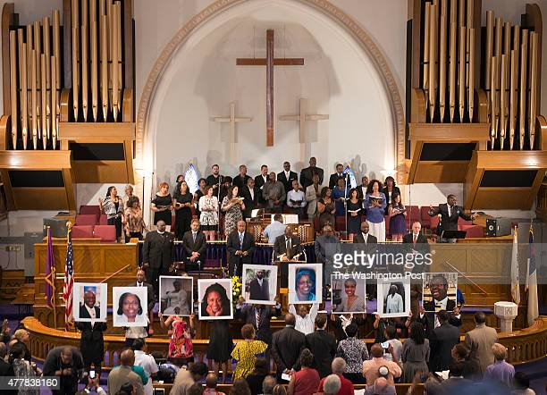 Overview of a prayer vigil at the Metropolitan African Methodist Episcopal Church in Washington DC on June 19 2015 The service came in the wake of...