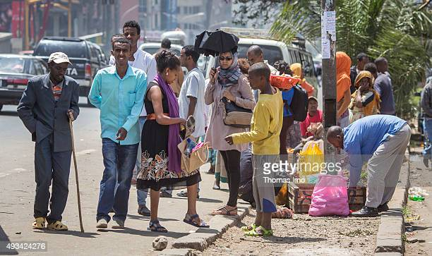 Overview of a street with pedestrains and traffic on October 12 2015 in Addis Abeba Ethiopia