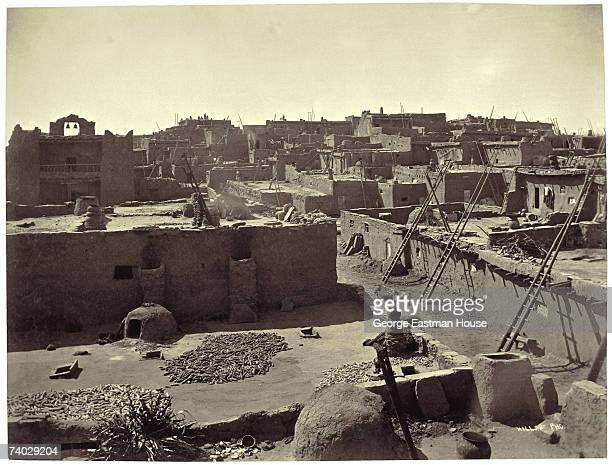 Overview of an unidentified Pueblo village southwestern United States late 19th century