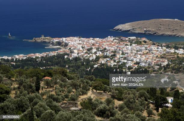 Overview of Andros city capital of the island surmounted by the Agios Georgios church
