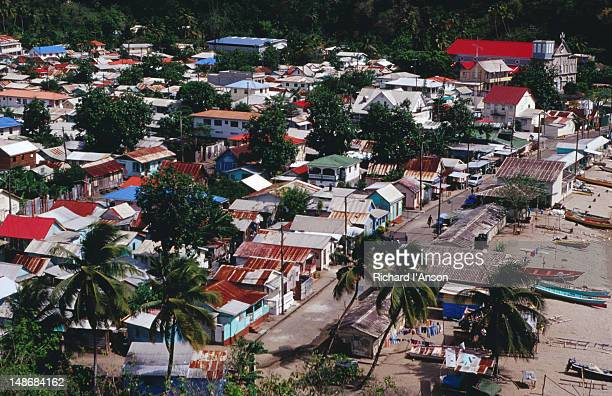 overview of anse la raye village & beach. - raye stock pictures, royalty-free photos & images