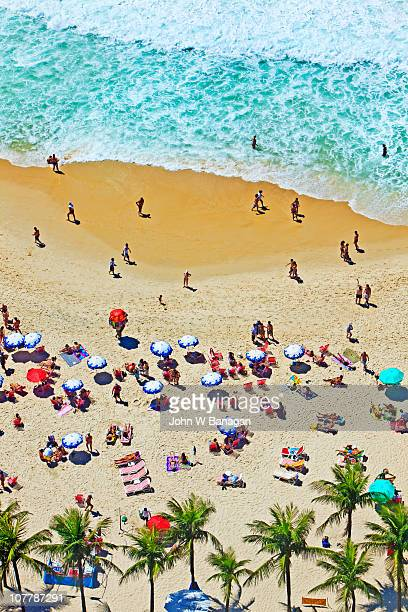 overview of beach - copacabana beach stock pictures, royalty-free photos & images
