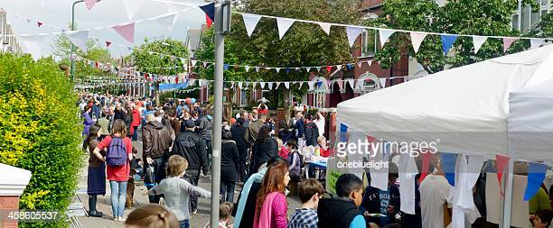 Overview of British Street Party During The Queen's Diamond Jubilee