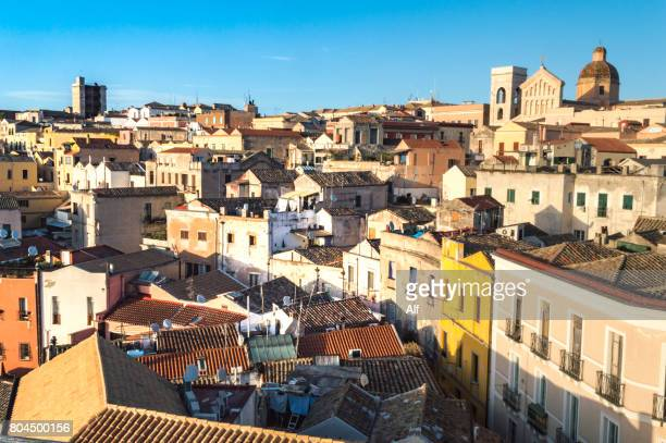 Overview of Cagliari from the top of the Elephant Tower, Sardinia, Italy