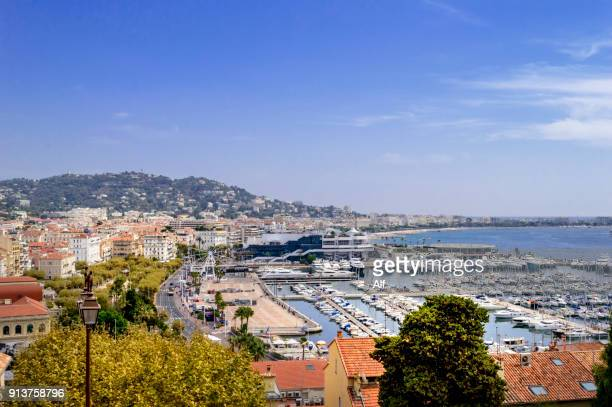 overview of cannes from the hill of the suquet district, provence-alpes-cote d'azur, france - cannes stock pictures, royalty-free photos & images
