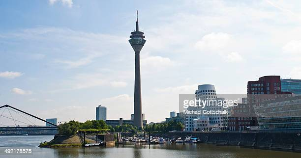 Overview of Duesseldorf Skyline with Rheinturm and buildings by architekt Frank O Gehry in Mediaport area on May 16 2014 in Duesseldorf Germany