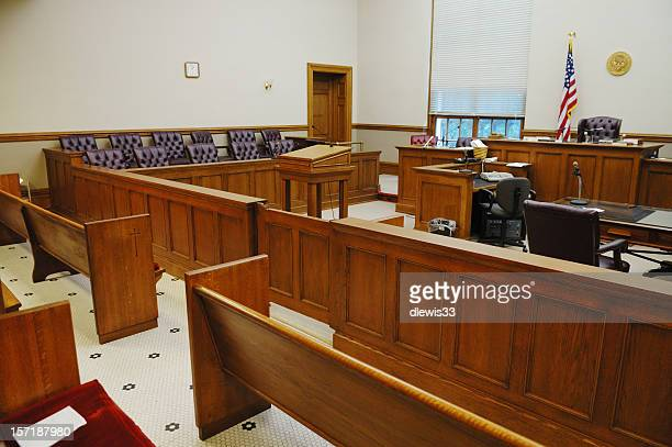 overview of empty american courtroom - courtroom stock pictures, royalty-free photos & images