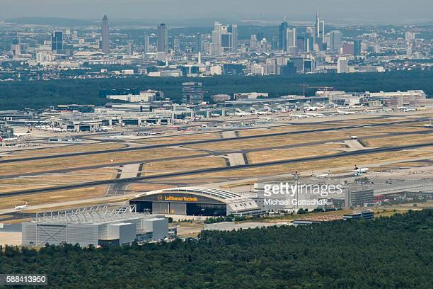Overview of Frankfurt Airport with its runways and the city of Frankfurt in the background on July 20 2016 in Frankfurt Germany