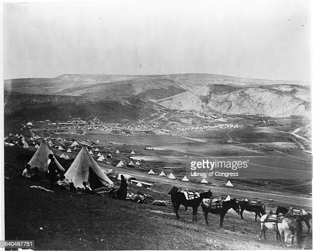 Overview of horses tents and soldiers in a cavalry camp near Balaklava during the Crimean War 1855 | Location near Balaklava Crimea Russia