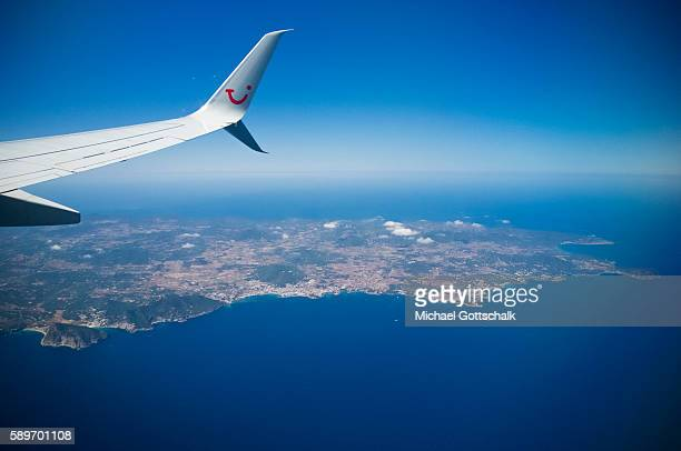 Overview of Ibiza with a plane of german travel company tui fly on May 12, 2016 in Ibiza, Spain.