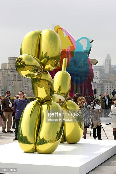 Overview of Jeff Koons' artwork during a press preview of Jeff Koons On the Roof at The Metropolitan Museum of Art on April 21 2008 in New York City
