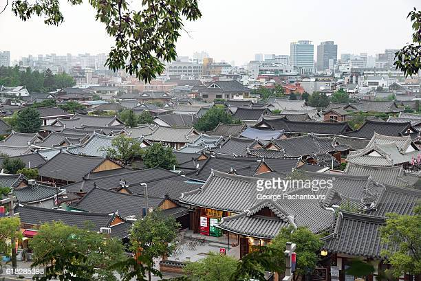 overview of jeonju, south korea - jeonju stock photos and pictures