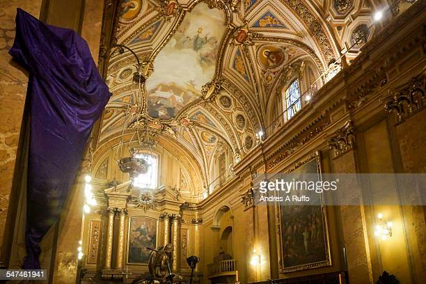 Overview of jesus covered with a purple robe inside the cathedral church of the city of Cordoba Argentina on the evening of Easter Thursday April 2...