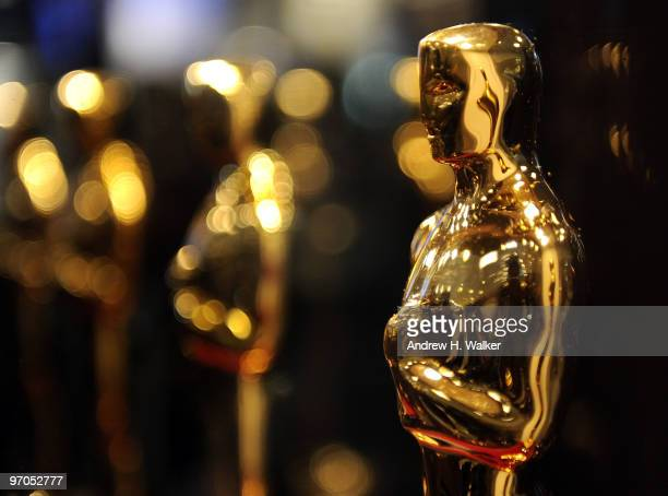 Overview of Oscar statues on display at Meet the Oscars at the Time Warner Center on February 25 2010 in New York City